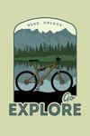 Bend, Oregon - Go Explore - Bike - Contour - Lantern Press Artwork