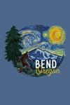 Bend, Oregon - Starry Night - Bigfoot - Contour - Lantern Press Artwork