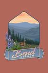Bend, Oregon - Deer & Spring Flowers - Contour - Lantern Press Artwork