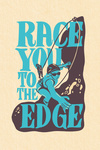 Race You to the Edge - Climbing Woman - Contour - Lantern Press Artwork