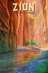 Zion National Park, Utah - The Narrows - Oil Painting - Lantern Press Artwork