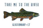 Glastonbury, Connecticut - Take Me to the River - Brook Trout - Icon - Lantern Press Artwork