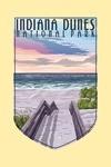 Indiana Dunes National Park - Lake Michigan - Beach Boardwalk Scene - Contour - Lantern Press Artwork