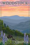 Woodstock, Virginia - Bear and Spring Flowers - Lantern Press Artwork