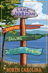 Lake Norman, North Carolina - Simplified - Destinations Sign - Lantern Press Artwork