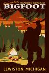 Lewiston, Michigan - Home of Bigfoot - Lantern Press Artwork