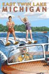 East Twin Lake, Michigan - Water Skiing & Wooden Boat (Hill Background) - Lantern Press Artwork
