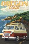 Oregon Coast - Camper Van - Lantern Press Artwork
