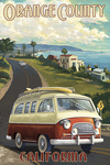 Orange County, California - Camper Van - Lantern Press Artwork