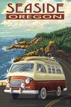 Seaside, Oregon - Camper Van - Lantern Press Artwork