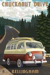 Bellingham, Washington - Chuckanut Drive - Camper Van - Lantern Press Artwork