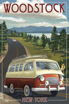 Woodstock, New York - Camper Van - Lantern Press Artwork