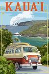 Kauai, Hawaii - Camper Van - Lantern Press Artwork
