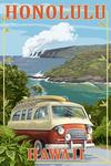 Honolulu, Hawaii - Camper Van - Lantern Press Artwork
