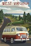 West Virginia - Camper Van - Lantern Press Artwork