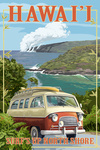 North Shore, Hawaii - Surf's Up - Camper Van - Lantern Press Artwork