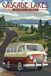 Cascade Lakes Scenic Byway - Oregon - Camper Van - Lantern Press Artwork