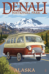Denali National Park, Alaska - Camper Van - Lantern Press Artwork