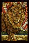 Visit the Zoo - Lion - Mosaic - Lantern Press Artwork