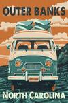 Outer Banks, North Carolina - Camper Van - Letterpress - Lantern Press Artwork