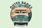 Outer Banks, North Carolina - Camper Van - Letterpress - Contour - Lantern Press Artwork