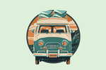 Letterpress - Camper Van - Contour