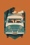 Letterpress - Camper Van - Forest - Contour