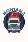 Montana - Camper Van - Letterpress - Contour - Lantern Press Artwork