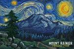 Mount Rainier National Park, Washington - Starry Night National Park Series - Lantern Press Artwork