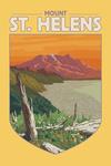 Mount St. Helens, Washington - Sunset View - Contour - Lantern Press Artwork