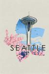 Space Needle - Cherry Blossoms Woodblock - Seattle, Washington - Contour - Lantern Press Artwork