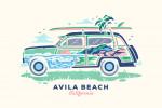 Avila Beach, California - Woody - Distressed Vector - Double Exposure - Lantern Press Artwork