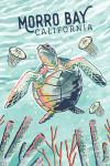 Morro Bay, California - Graphic Pastel - Sea Turtle - Lantern Press Artwork