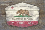 Morro Bay, California - Rustic California State Flag - Contour - Lantern Press Artwork