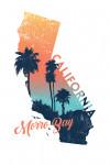 Morro Bay, California - State Abstract - Palm Scene - Contour - Lantern Press Artwork
