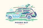 Morro Bay, California - Woody - Distressed Vector - Double Exposure - Lantern Press Artwork