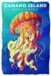 Camano Island, Washington - Jellyfish - Vivid - Lantern Press Artwork
