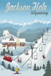 Jackson, Hole, Wyoming - Retro Mountain Town - Lantern Press Artwork