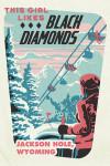 Jackson, Hole, Wyoming - Ski Black Diamond - Contour - Lantern Press Artwork