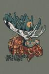 Jackson, Hole, Wyoming - Ski Moose - Distressed Vector - Lantern Press Artwork