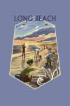 Long Beach, Washington - Clam Diggers  - Contour -  Lantern Press Art
