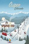 Aspen, Colorado - Retro Mountain Town - Lantern Press Artwork