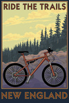 Ride the Trails in New England - Lantern Press Artwork
