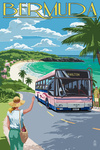 Bermuda - Pink Bus on Coastline - Lantern Press Artwork