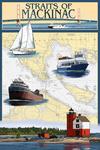Straits of Mackinac, Michigan - Nautical Chart - Lantern Press Poster