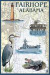 Fairhope, Alabama - Nautical Chart - Lantern Press Poster