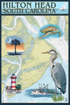 Hilton Head, South Carolina - Nautical Chart - Lantern Press Artwork