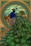Peacock - Art Nouveau - Lantern Press Artwork