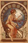 Woman and Bird - Art Nouveau - Lantern Press Artwork