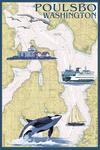 Poulsbo, Washington - Nautical Chart - Lantern Press Artwork